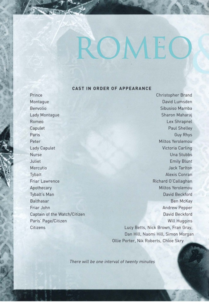 Cast List - Romeo and Juliet - 2002 - 1 of 2