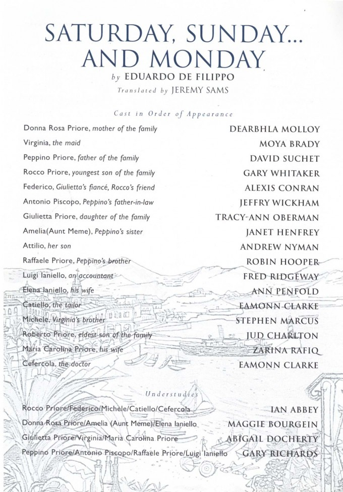 Cast List - Saturday, Sunday, Monday - 1998 - 1 of 2