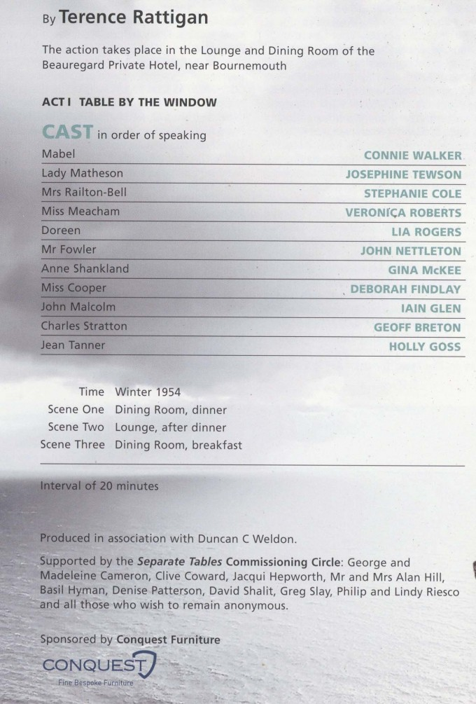 Cast List - Seperate Tables- 2009- 1 of 2