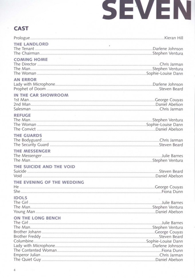 Cast List - Seven Doors - 2003 - 1 of 2