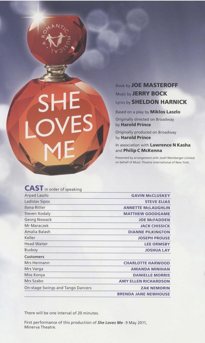 Cast List - She Loves Me - 2011- 1 of 2