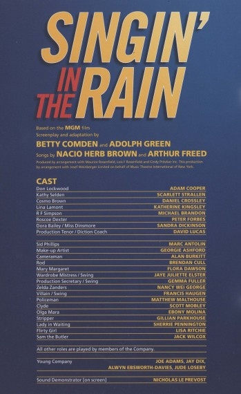 Cast List - Singin' in the Rain - 2011 - 1 of 2