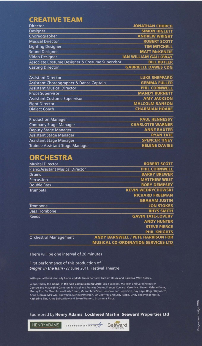 Cast List - Singin' in the Rain - 2011 - 2 of 2