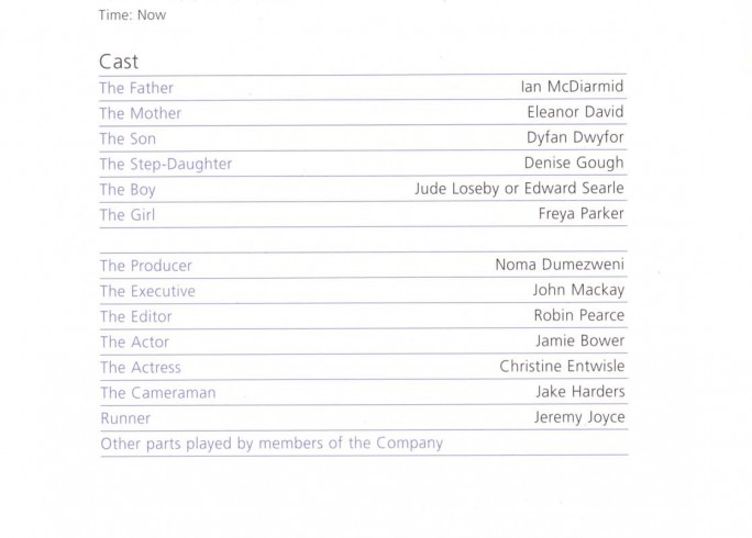 Cast List - Six Characters in Search of an Author - 2008 - 1 of 2
