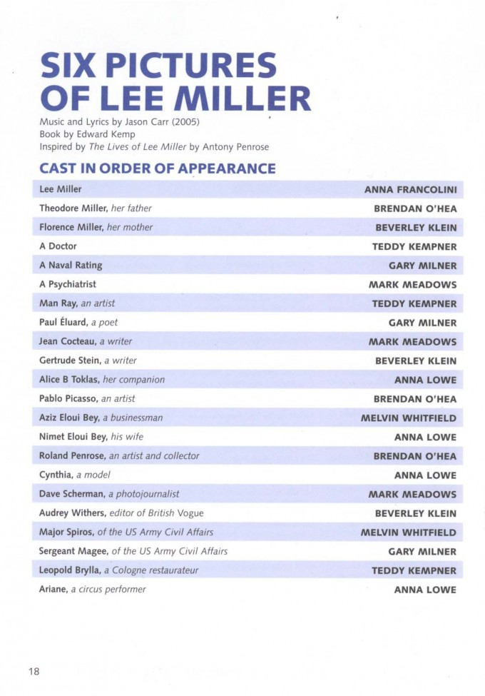 Cast List - Six Pictures of Lee Miller - 2005 - 1 of 2