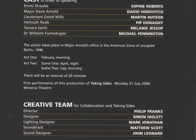 Cast List - Taking Sides and Collaboration - 2009 - 1 of 2