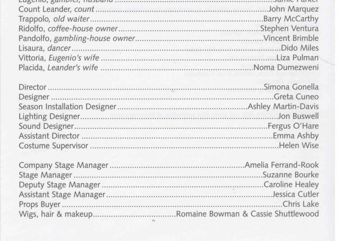 Cast List - The Coffee House - 2003-1 of 2