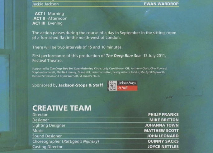 Cast List - The Deep blue Sea, Rattigan's Nijinsky - 2011-A