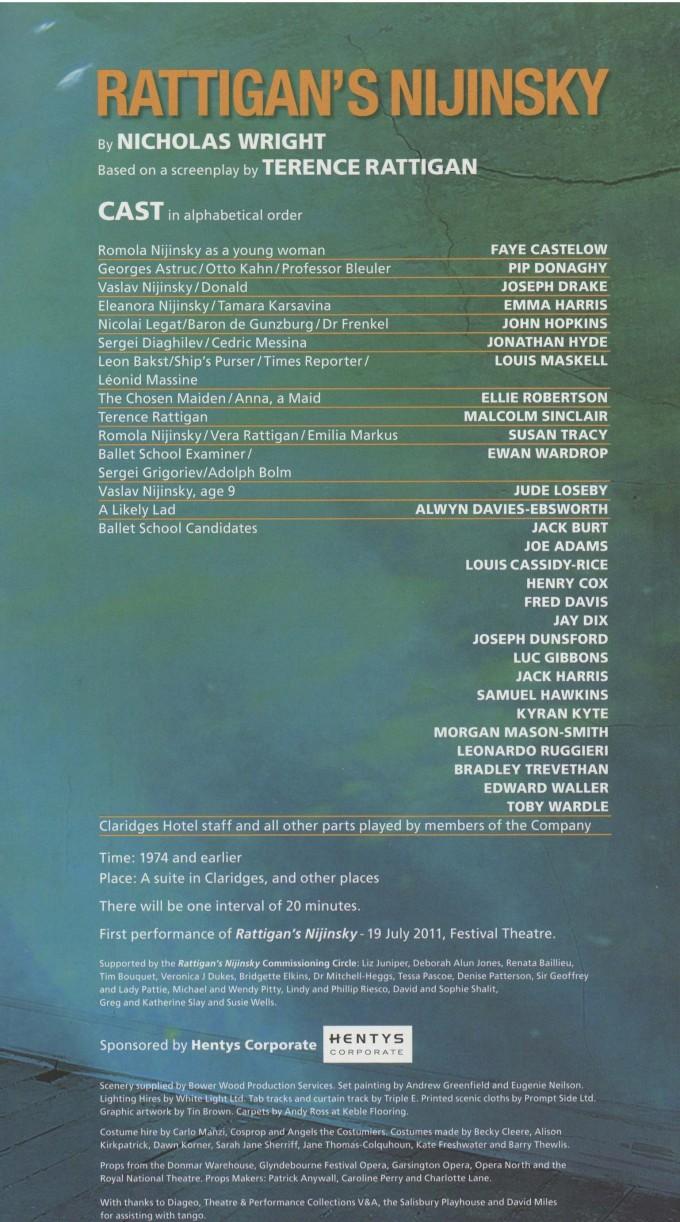 Cast List - The Deep blue Sea, Rattigan's Nijinsky - 2011-B