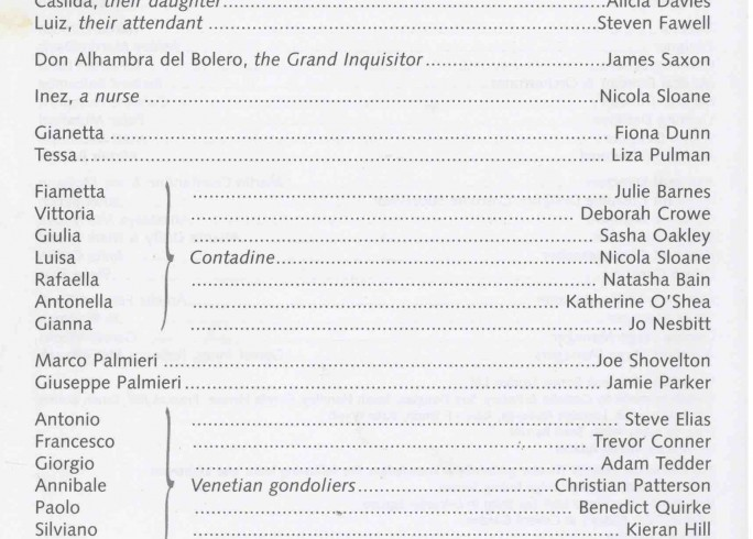 Cast List - The Gondoliers 2003 - 1 of 2