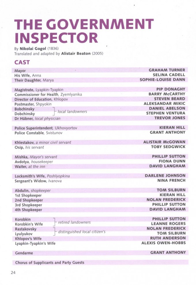 Cast List - The Government Inspector - 2005 - 1 of 2
