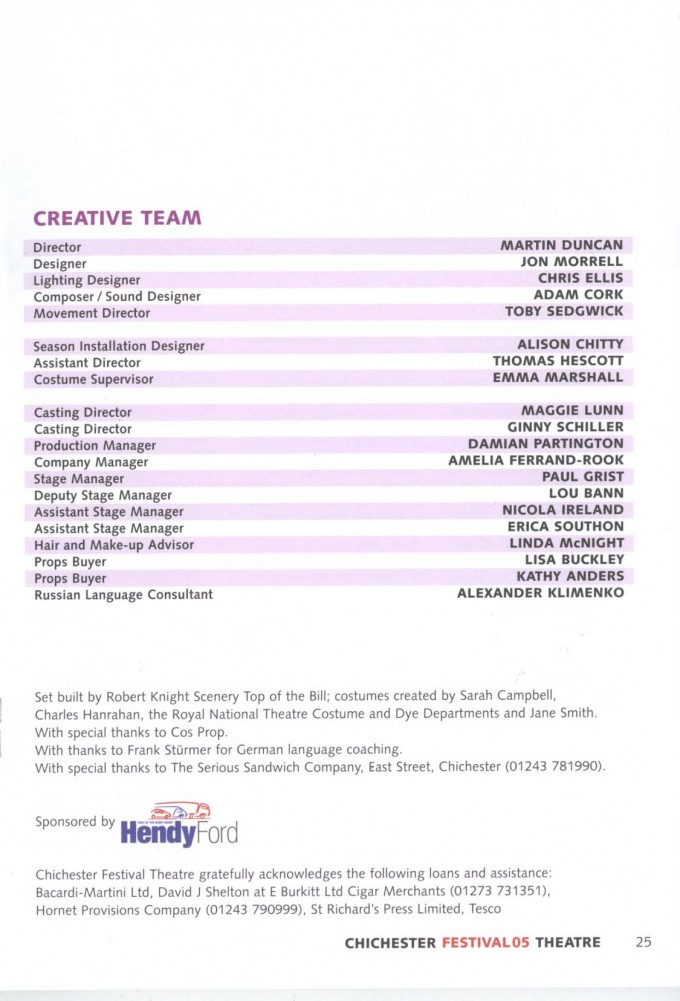 Cast List - The Government Inspector - 2005 - 2 of 2