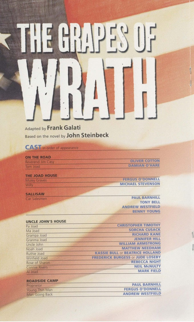 Cast List - The Grapes of Wrath - 2009-A
