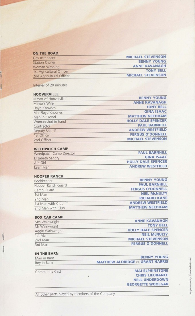 Cast List - The Grapes of Wrath - 2009-B