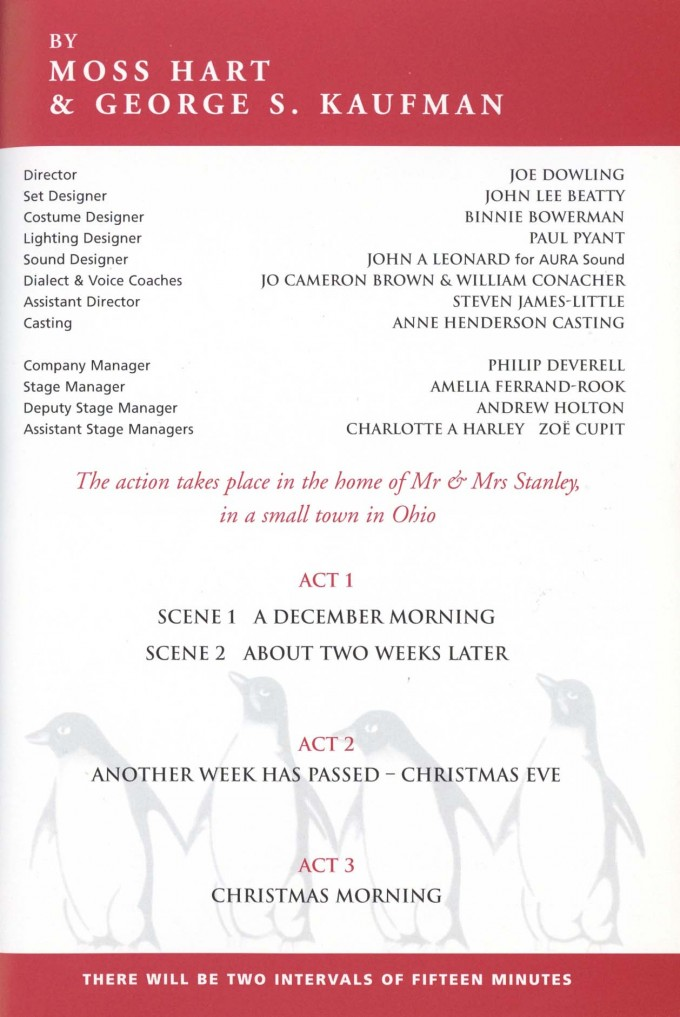 Cast List - The Man Who Came To Dinner - 1999 - 2 of 2