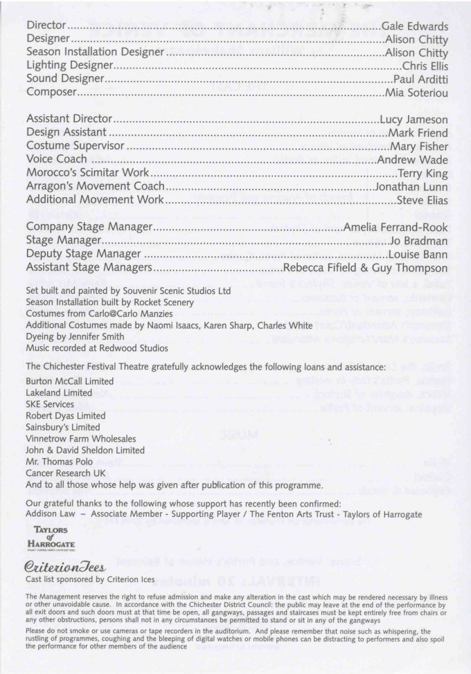 Cast List - The Merchant of Venice - 2003 2 of 2