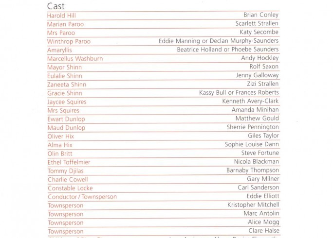 Cast List - The Music Man - 2008 - 1 of 2