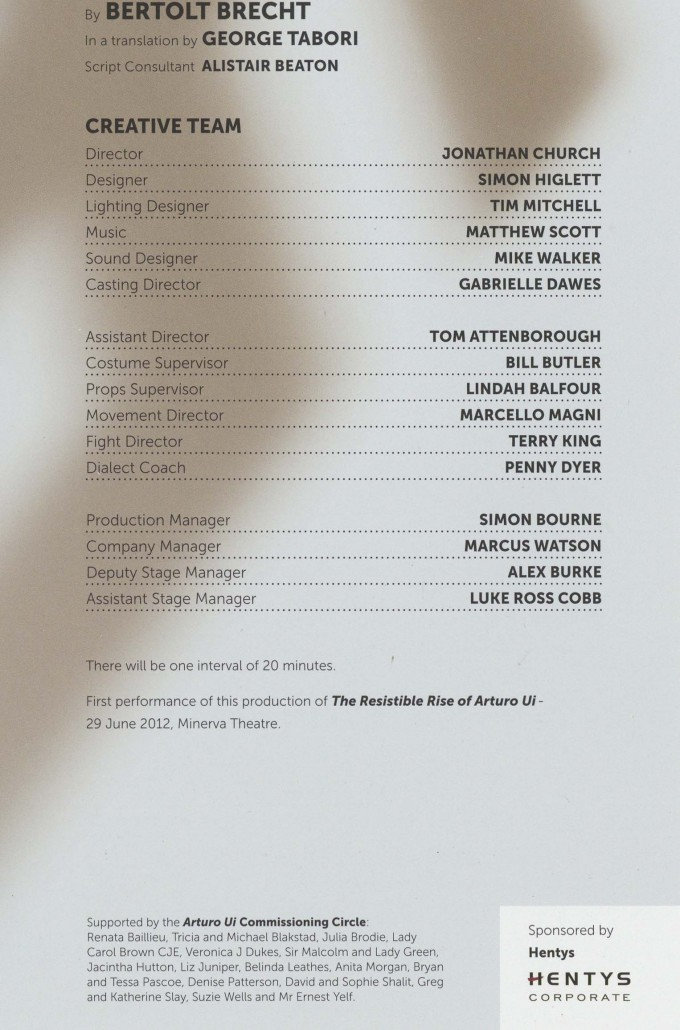 Cast List - The Resistable Rise of Arturo Ui - 2012 - 2 of 2