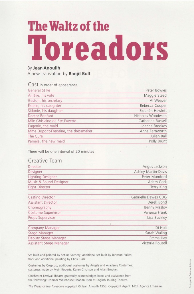 Cast List - The Waltz of the Toreadors - 2007