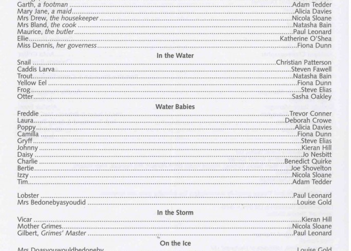 Cast List - The Water Babies - 2003