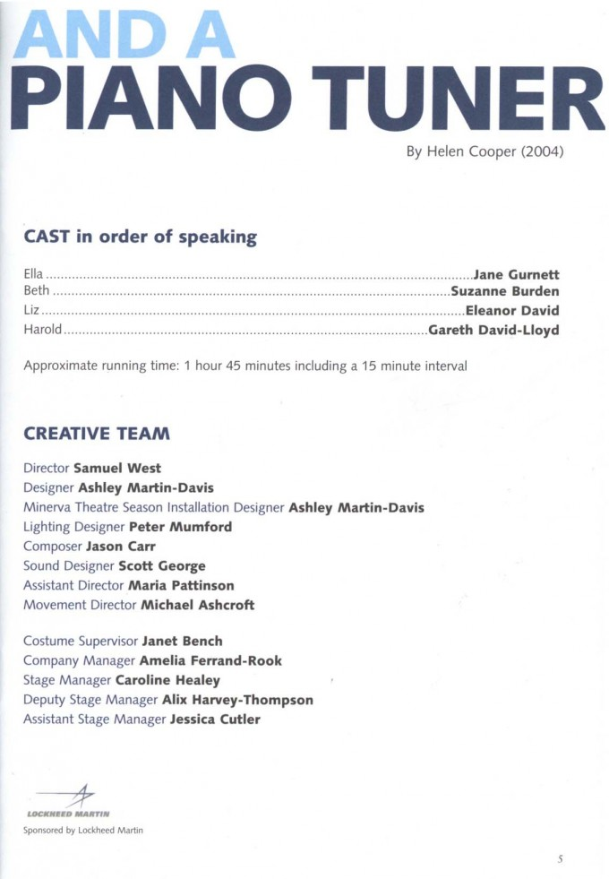 Cast List - Three Women and a Piano Tuner - 2004 - 2 of 2