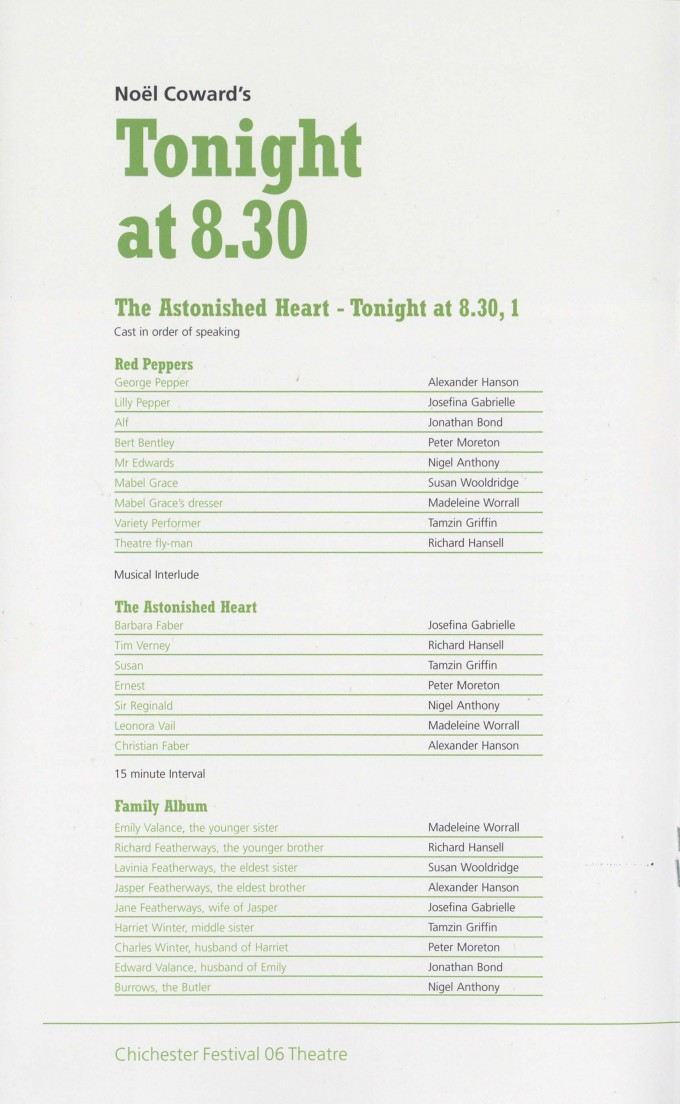 Cast List - Tonight at 8.30 - 2006 - 1 of 2