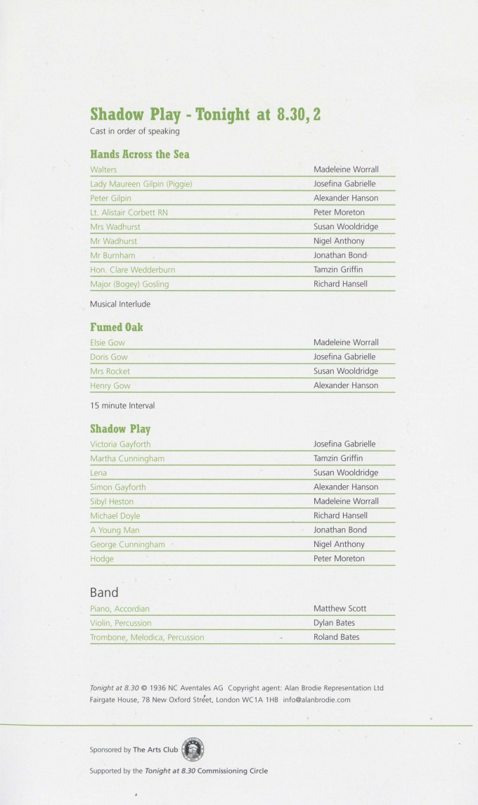 Cast List - Tonight at 8.30 - 2006 - 2 of 2