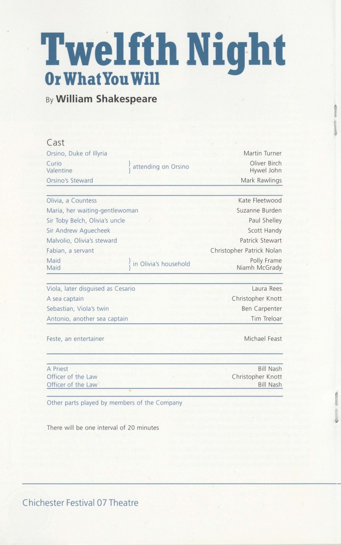 Cast List - Twelfth Night - 2007 - 1 of 2