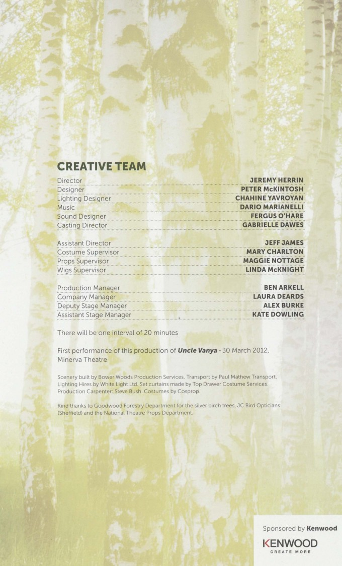 Cast List - Uncle Vanya - 2012 - 2 of 2