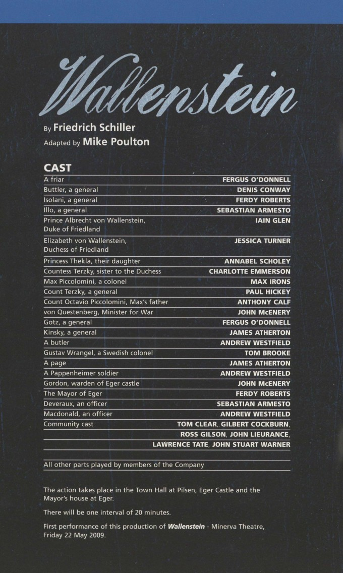 Cast List - Wallenstein - 2009 - 1 of 2