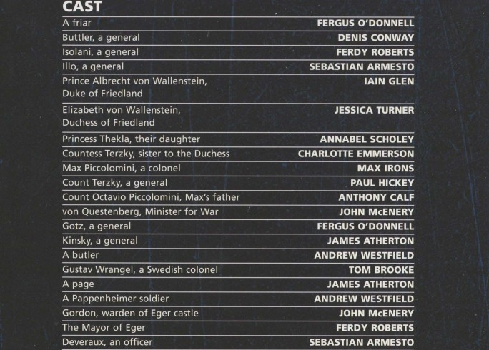 Cast List - Wallenstein - 2009 - 1 of 2