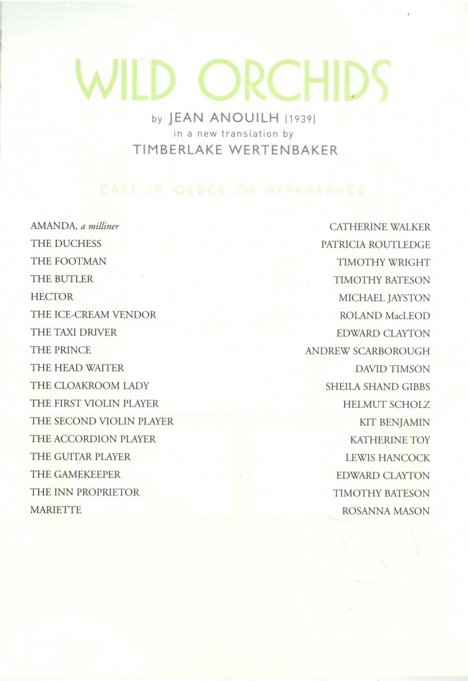 Cast List - Wild Orchids - 2002 - 1 of 2
