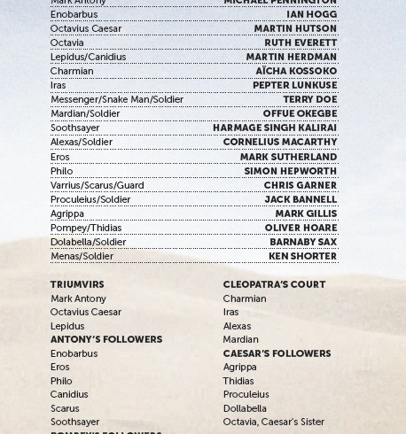 Cast list - Antony and Cleopatra - 2012 - 1 of 2