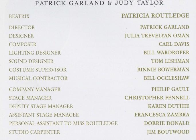 Cast list - Beatrix - 1996