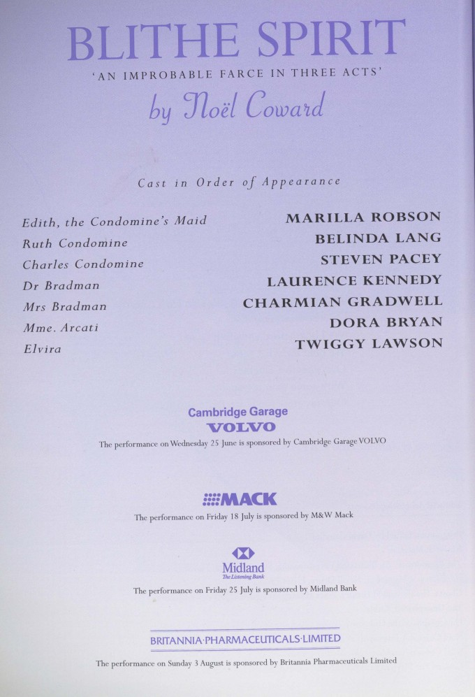 Cast list - Blithe Spirit - 1997 - 1 of 2