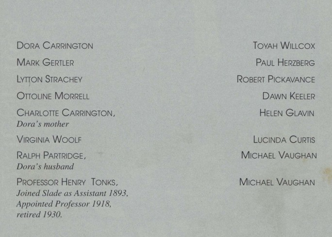 Cast list - Carrington - 1993
