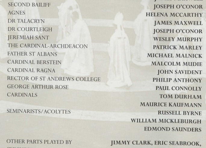 Cast list - Hadrian VII - 1995 - 1 of 2