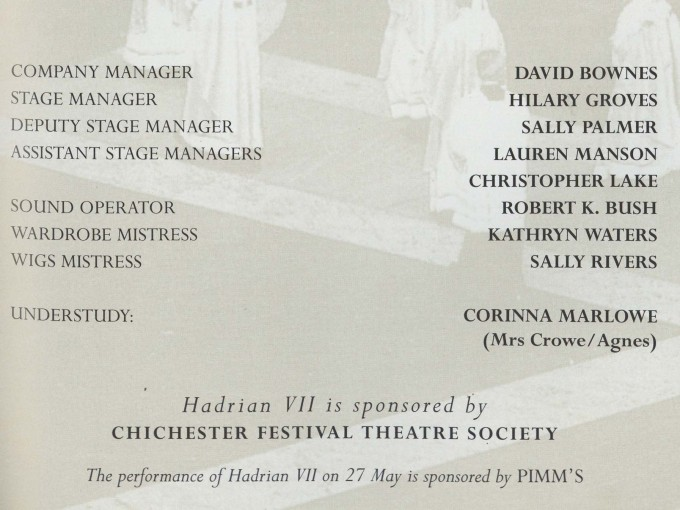 Cast list - Hadrian VII - 1995 - 2 of 2