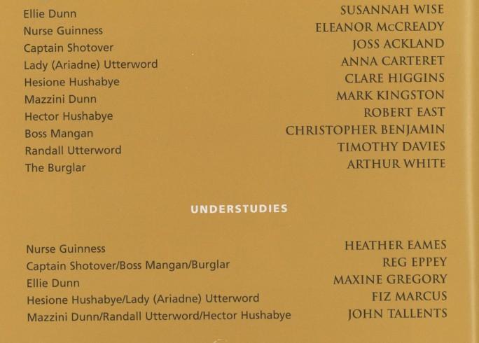Cast list - Heartbreak House - 2000 - 1 of 2