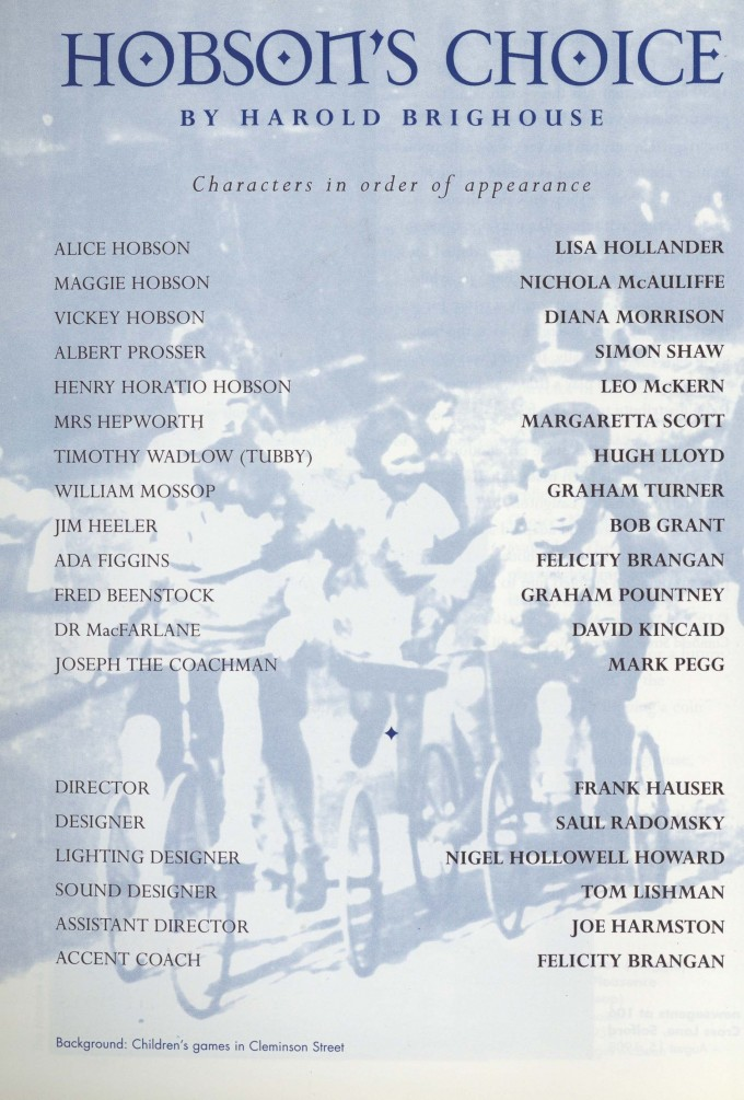Cast list -Hobsons Choice - 1995 - 1 of 2