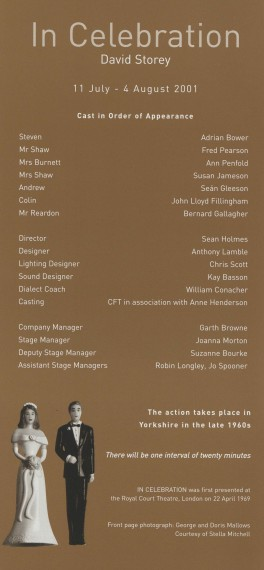 Cast list -In Celebration - 2001