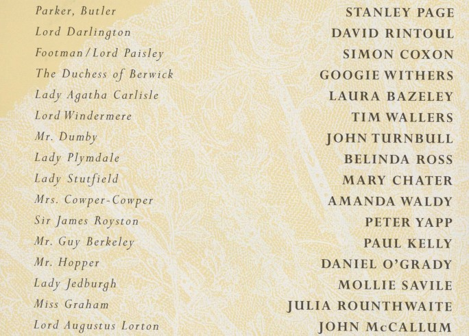 Cast list -Lady Windermere's Fan - 1997 - 1 of 2