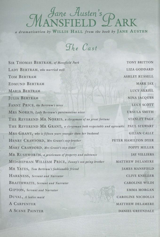Cast list -Mansfield Park - 1996 - 1 of 2