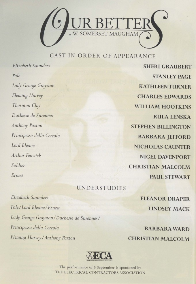 Cast list - Our Betters -  1997 - 1  of 2