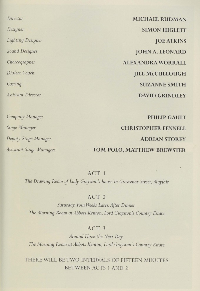 Cast list - Our Betters - 1997 - 2  of 2