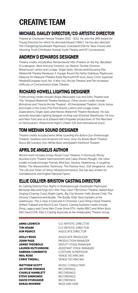 Cast list - Playhouse Creatures - 2012 - 2 of 2