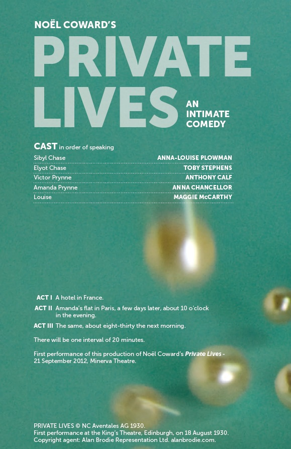 Cast list - Private Lives - 2012 - 1 of 2