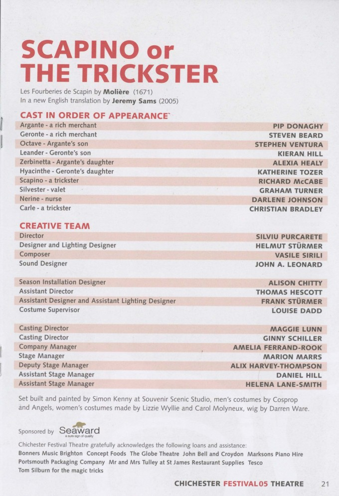 Cast list - Scapino or the trickster - 2005