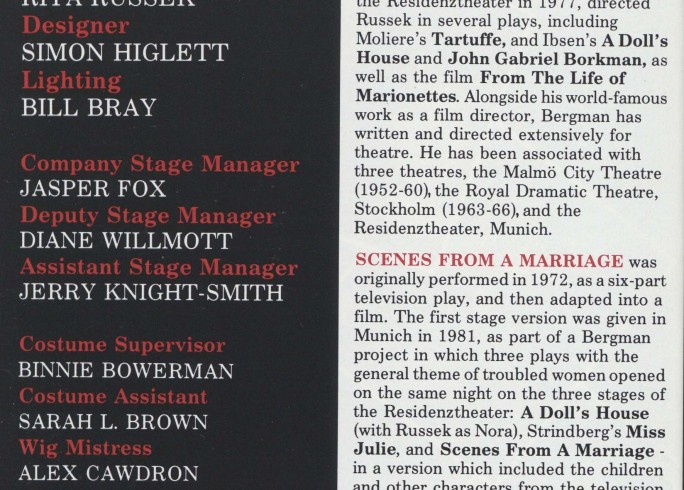 Cast list - Scenes from a Marriage - 1990