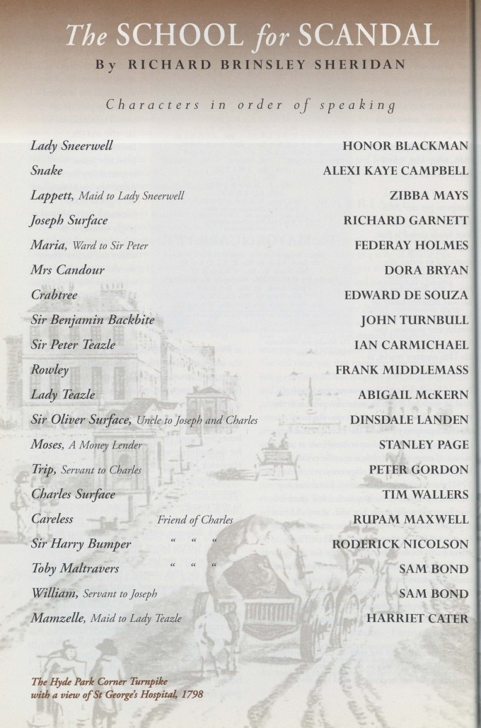Cast list - School for Scandal - 1995 - 1 of 2